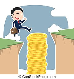 Asian businessman use coins stack to jump over cliffAsian businessman use coins stack to jump over cliff