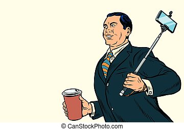 Asian businessman with a selfie stick and coffee