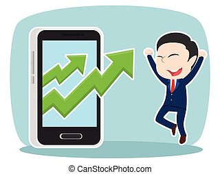Asian businessman with rising graph out from smartphone
