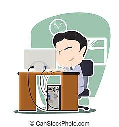 Asian businessman working illustration design