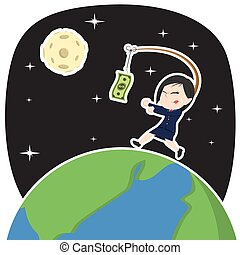 Asian businesswoman chasing money on earth