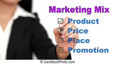 marketing mix - Asian businesswoman doing marketing mix for...