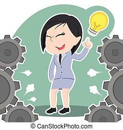 Asian businesswoman got an idea around gears