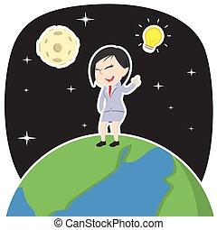 Asian businesswoman got an idea on earth