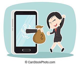 Asian businesswoman happy got money from smartphone