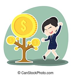 Asian businesswoman happy her coin tree grow