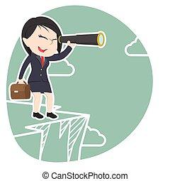 Asian businesswoman looking through monocular on cliff