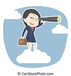 Asian businesswoman on clouds looking through monocular