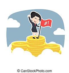 Asian businesswoman on coins peak
