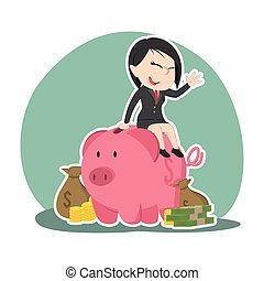 Asian businesswoman on piggy bank with a lot of money