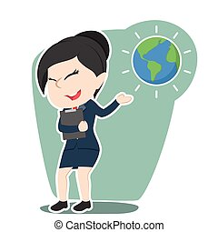 Asian businesswoman presenting earth globe