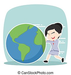 Asian businesswoman pushing earth