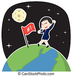 Asian businesswoman putting number 1 flag on earth