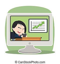Asian businesswoman reporting increase progress on tv