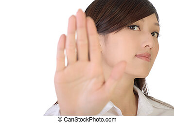 NO - Asian businesswoman show NO gesture with confident...