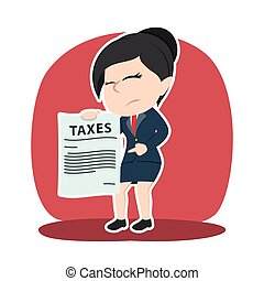 Asian businesswoman showing tax paper