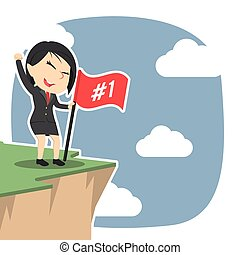 Asian businesswoman standing with flag on cliff edge
