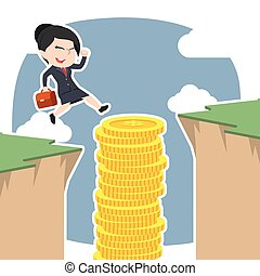 Asian businesswoman use coins stack to jump over cliff