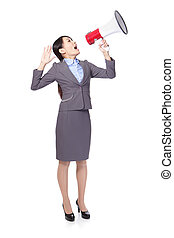 asian businesswoman using megaphone with energetic face