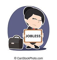 Asian businesswoman with jobless board sign