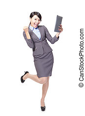 asian businesswoman with touch pad with energetic face,one...