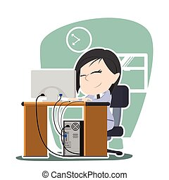 asian Businesswoman working illustration design