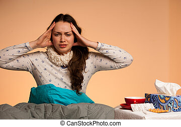 Asian caucasian woman having a head ache - girl with pain in head