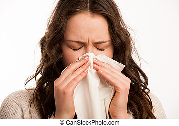 Asian caucasian woman with flu  and feaver
