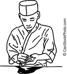Asian chef making sushi at the restaurant - vector illustration sketch hand drawn with black lines, isolated on white background