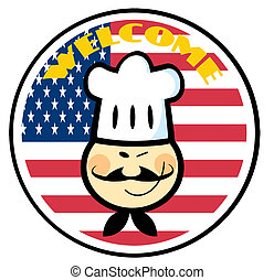 Asian Chef Over An American Flag - Asian Chef Face Over An...