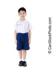 Asian child boy in student's uniform on isolated background