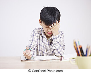 asian child frustrated - 10 year-old asian elementary...