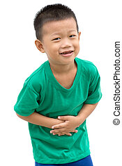 Asian child holding his stomach