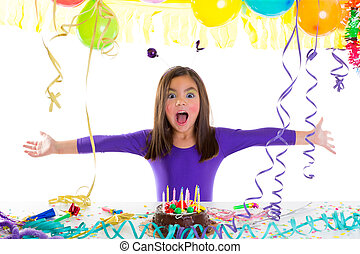 Asian child kid girl in birthday party happy gesture and...