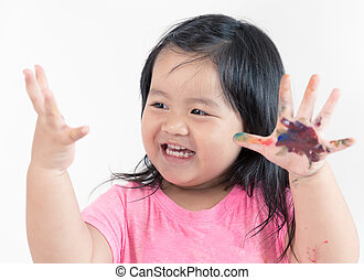 Asian child painting, happy and cheerful