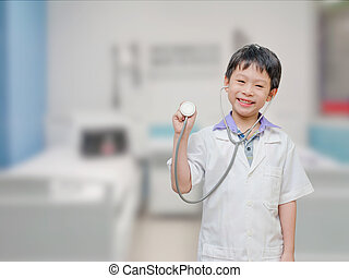 Asian child pretend to be doctor in hospital