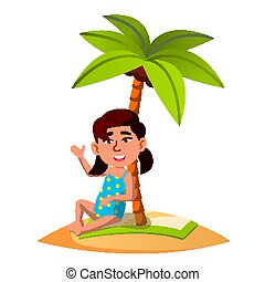 Asian Child Sitting On The Sand On The Beach Under Palm Tree Vector. Isolated Illustration