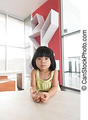 Asian child - Portrait of little Asian child girl indoor