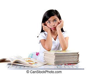 Asian Child Thinking - Eight Year Old Gradeschool Student...