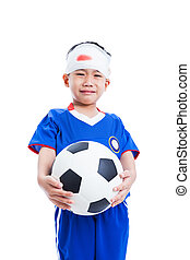 Asian child with trauma of the head holding a football and crying, isolated on white