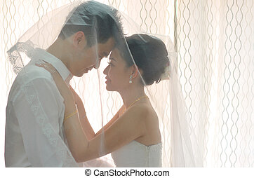 Asian chinese bride and groom on their actual wedding day