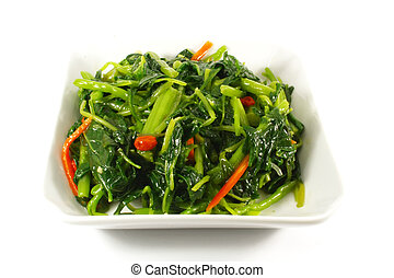 Asian Chinese Cooking Style Stir Fry Vegetable Dish on White...