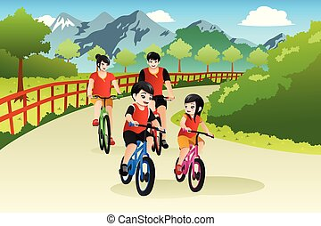 Asian Chinese Family Biking Outdoor Illustration