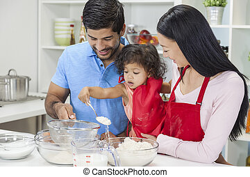 Asian Chinese Family Cooking in Home Kitchen