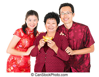 Asian Chinese family greeting