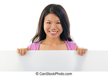 Asian Chinese girl holding placard