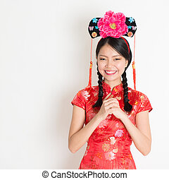 Asian chinese girl wishing - Portrait of Asian Chinese girl...