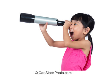 Asian Chinese little girl looking through a telescope