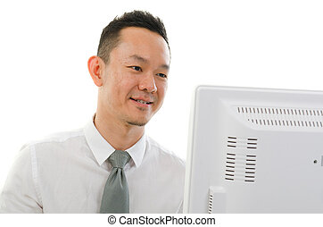 asian chinese male with computer