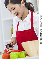 Asian Chinese Woman Preparing Vegetables Salad Food in Kitchen